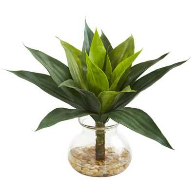 """12"""" Agave Succulent Artificial Plant in Glass Vase - Fiddle + Bloom"""