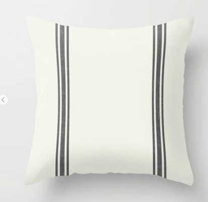 Vintage Country French Grainsack Grey Stripes Cream Background Throw Pillow - Society6