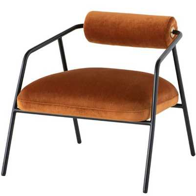 Cyrus Occasional Chair by District Eight - Rust Velvet Seat / Matte Black Steel Frame - Burke Decor