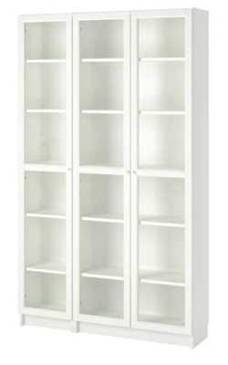 BILLY / OXBERG Bookcase, white, glass - Ikea