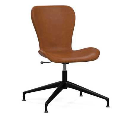 Burke Leather Swivel Desk Chair, Vintage Caramel Leather - Pottery Barn