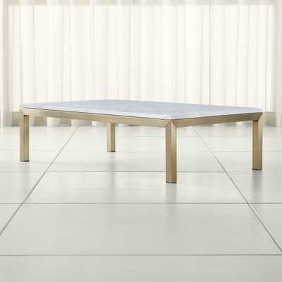 Parsons White Marble Top/ Brass Base 60x36 Large Rectangular Coffee Table - Crate and Barrel