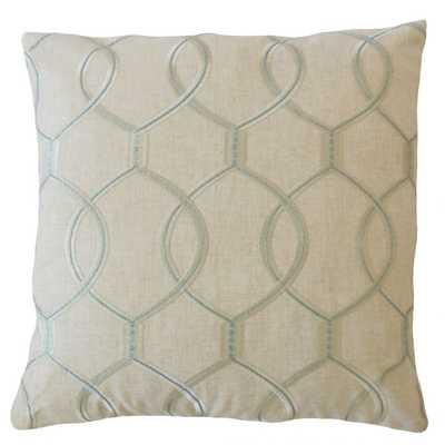 """Aella Geometric Pillow Mineral - 18"""", down insert - Linen & Seam"""