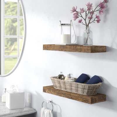 """Evonne Wall Shelf - Set of 2 - Dark Walnut - 36"""" - Wayfair"""