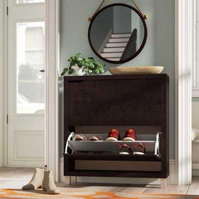 12 Pair Espresso Shoe Storage Cabinet - Wayfair