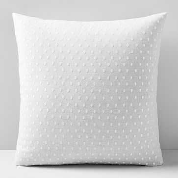 "Embroidered Dot Pillow Cover, 20""x20"", Frost Gray - West Elm"