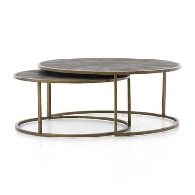 Shagreen Antique Brass Nesting Coffee Tables - Crate and Barrel