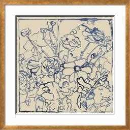 Indigo Floral Sketch II - art.com