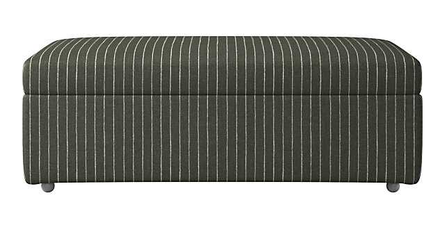 MOVIE STORAGE OTTOMAN Pinstripe, Charcoal - CB2