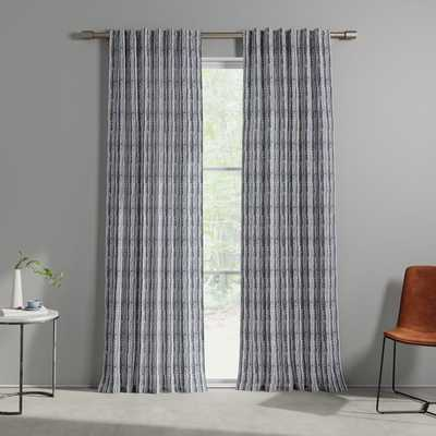 Cotton Canvas Wave Stripe Curtain (Set of 2) - Midnight - West Elm
