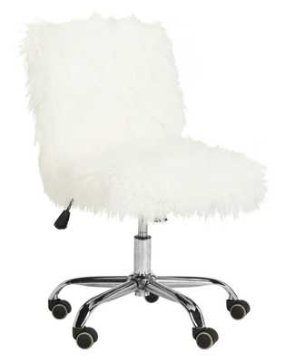Whitney Faux Sheepskin Chrome Leg Swivel Office Chair - White/Chrome - Arlo Home - Arlo Home