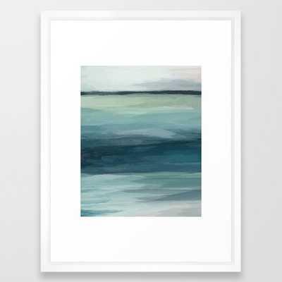 "Seafoam Green Mint Navy Blue Abstract Ocean Art Painting Framed Art Print- Medium Vector White 20"" x 26"" - Society6"