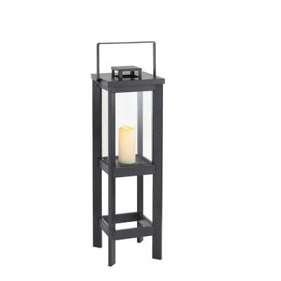 Hampton Bay Small Size Outdoor Square Arlen Floor Lantern - Home Depot