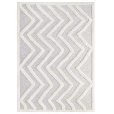 PATHWAY ABSTRACT CHEVRON 8X10 SHAG AREA RUG IN IVORY AND LIGHT GRAY - Modway Furniture