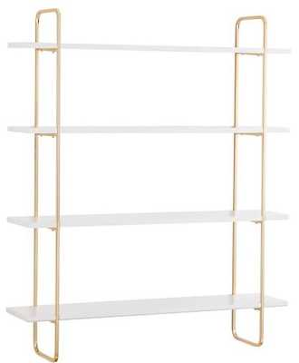 Metallic Trim Multi-level Wall Shelves, 4-Shelf, Gold/Whit - Pottery Barn Teen