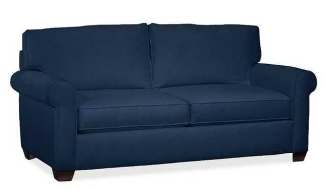 "Buchanan Roll Arm Upholstered Sofa 87"", Polyester Wrapped Cushions, Performance Everydayvelvet™ Navy - Pottery Barn"