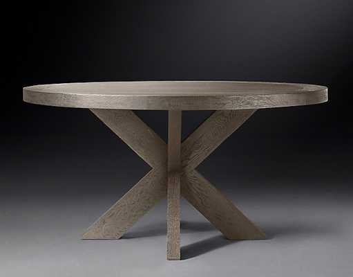 1960S FRENCH X-BASE ROUND DINING TABLE - RH