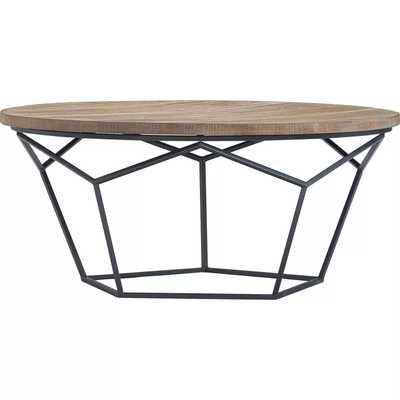 Avion Round Geometric Wood and Metal Coffee Table Wood - Finch - Target