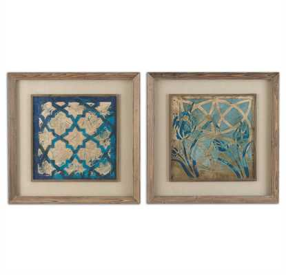 Stained Glass Indigo, Framed Prints, set of 2 - Hudsonhill Foundry