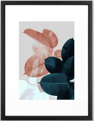 Blush & Blue Leaves Framed Art Print - Society6