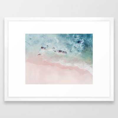 """Ocean Pink Blush Framed Art Print - 20""""x26"""" - Vector White Frame - Society6"""