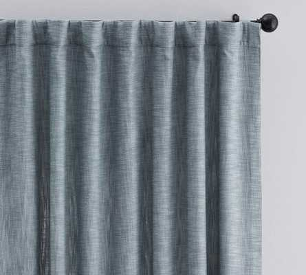 "Seaton Textured Drape 108"", Chambray Blue, cotton lining - Pottery Barn"