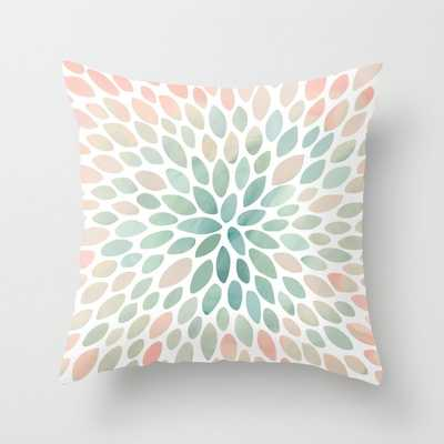 Floral Bloom, Abstract Watercolor, Coral, Peach, Green, Floral Prints Throw Pillow - Society6