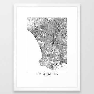 """Los Angeles White Map Framed Art Print - 20"""" x 26"""", vector white - Society6"""