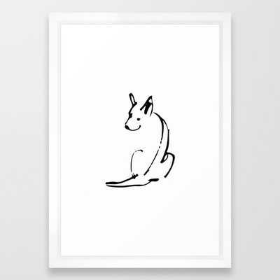 """Dog Line Art Framed Art Print, Vector White Frame 15""""x21"""" - Society6"""