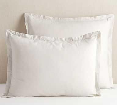 Spencer Washed Cotton Sham, Euro, Heathered Gray - Pottery Barn