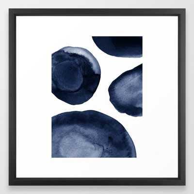 Indigo Watercolor Circles Framed Art Print - Society6