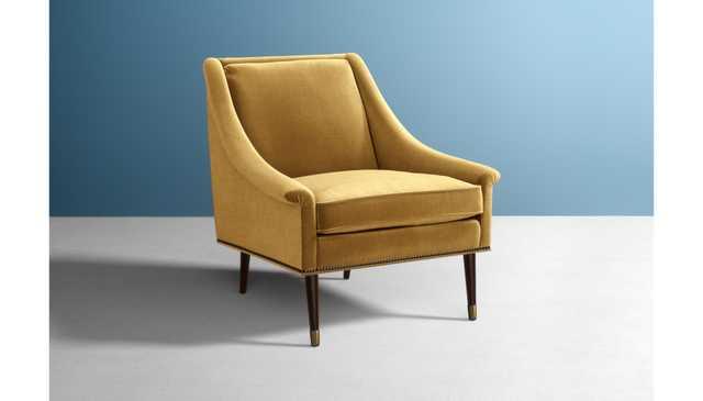 Tillie Chair - Fabric Slub Velvet in Antique, Leg Finish Wood in Hickory Hardware Finish Metal Finish in Antique Brass - Anthropologie