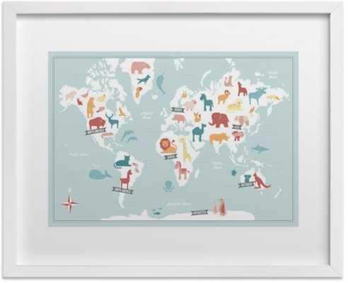 Animal World Map Art Print - Minted