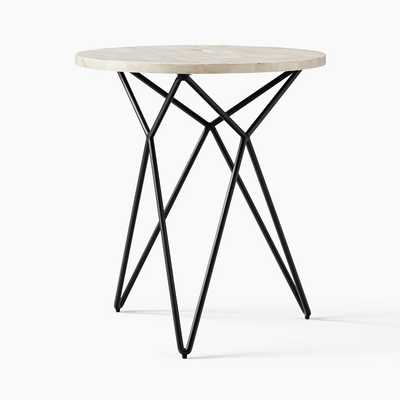 Adeline Bone Inlay Round Side Table, Antique Bronze - West Elm