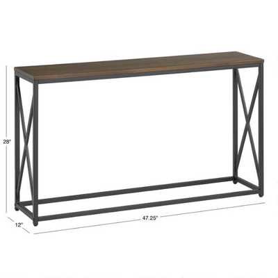 Dark Brown And Black X Base Farmhouse Console Table - World Market/Cost Plus