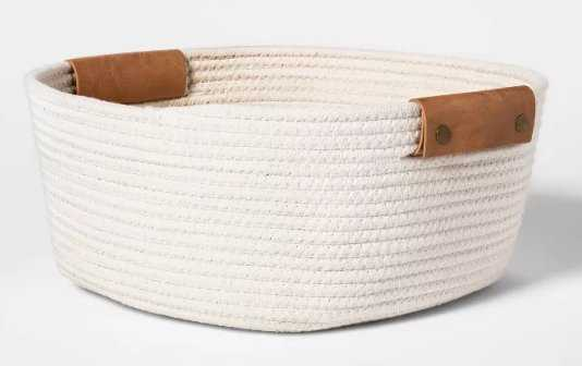 """Decorative Coiled Rope Square Base Tapered Basket Small White 13"""" - Threshold™ - Target"""