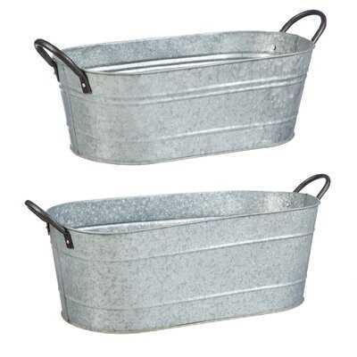 2 Piece Galvanized Metal Bucket Set - Wayfair
