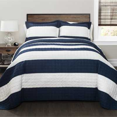 Hamilton Reversible Quilt Set, Navy/White, Full/Queen - Wayfair