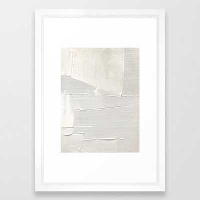 """Relief [1]: an abstract, textured piece in white by Alyssa Hamilton Art Framed Art Print - Vector White, 15"""" x 21"""" - Society6"""