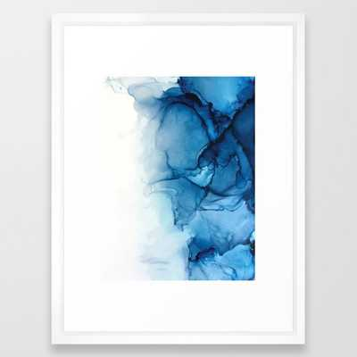 "Blue Tides - Alcohol Ink Painting Framed Art Print - 20""x26"" - Society6"