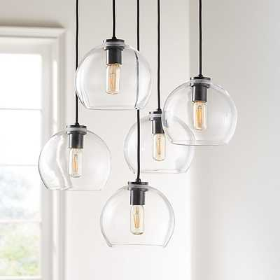 Arren Black Round 5-Light Pendant with Clear Round Shades - Crate and Barrel