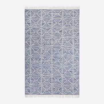 Reflected Diamonds Indoor/Outdoor Rug, Officer Blue, 5'x8' - West Elm