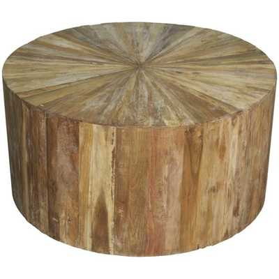 Round Teak Wood Coffee Table by Noir - Burke Decor