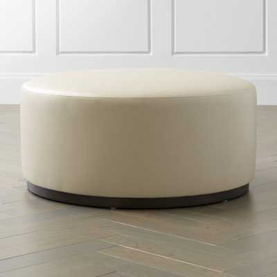 Zoey Leather Cocktail Ottoman - Crate and Barrel