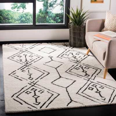 Powell Hand-Tufted Wool Ivory/Black Area Rug - AllModern