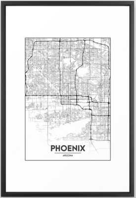 Minimal City Maps - Map Of Phoenix, Arizona, United States Framed Art Print - Society6