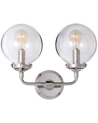 BISTRO DOUBLE SCONCE WITH CLEAR GLASS SHADE - POLISHED NICKEL - McGee & Co.