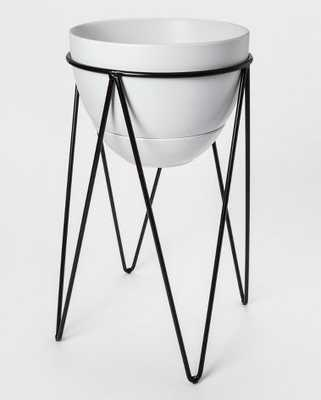 "Ceramic Planter With Metal Stand White/Black - Project 62™ - 21.6"" x 15.7"" - Target"