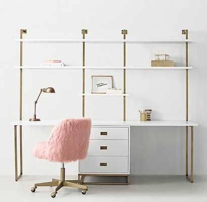 AVALON DOUBLE DESK STUDY WALL WITH DRAWERS - RH Teen