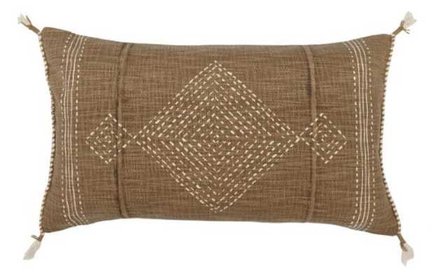 Brown And Ivory Geo Print Lumbar Pillow - World Market/Cost Plus